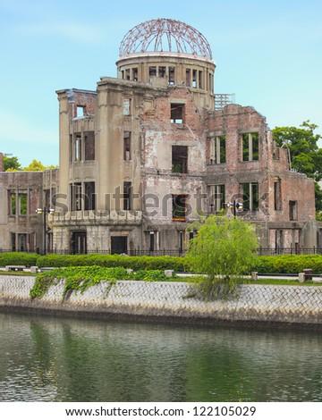 A Bomb or Genbaku Dome ruins in Hiroshima Peace Memorial Park. Unesco World Heritage Site