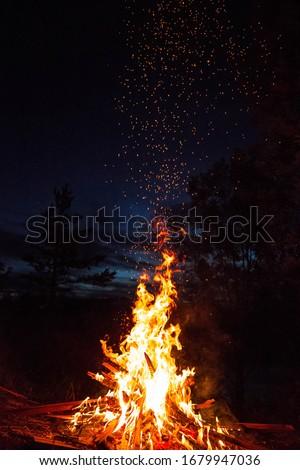A bonfire at the summer evening. Сток-фото ©