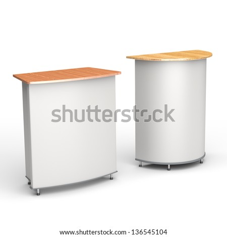 A booth or tribune on white background. render