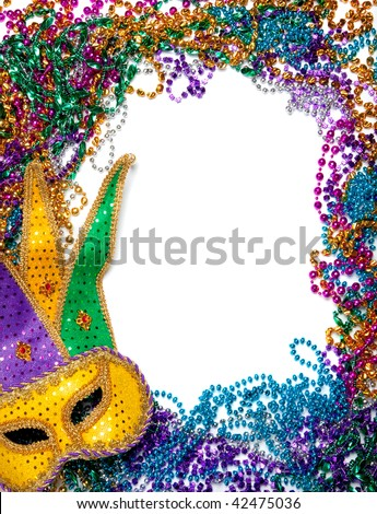 A border made of a gold, purple and green mardi gras mask and blue, green, red, gold and purple plastic beads - stock photo