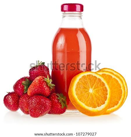 a bottle  juice with fresh orange and strawberry , iIsolated on white background
