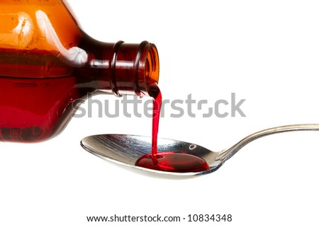 A bottle of cold medicine poured into a spoon