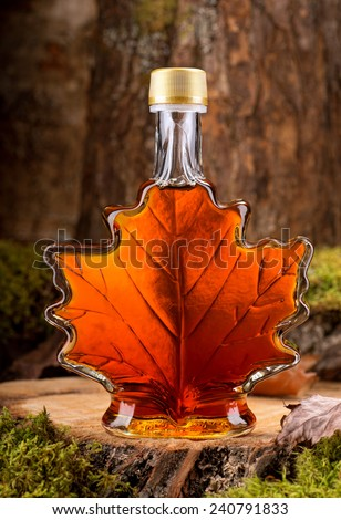 A bottle of delicious maple syrup in hardwood forest setting.
