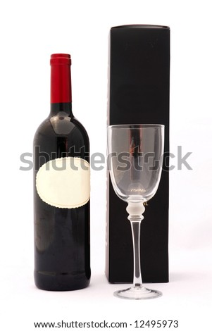 A bottle of delicious South African red wine with glass and black box isolated on white background - stock photo