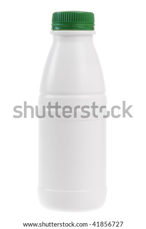 A bottle of kefir isolated on white background