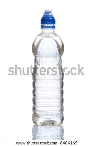 A bottle of mineral water with droplets reflecting on white background