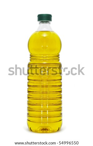 a bottle of olive oil isolated on a white background