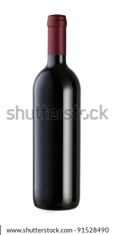 A bottle of red wine with a blank label, isolated on white with clipping path.