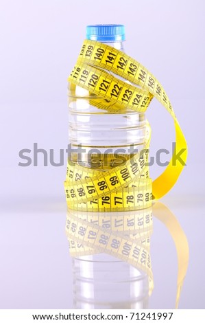 a bottle of water surrounded by yellow tapeline