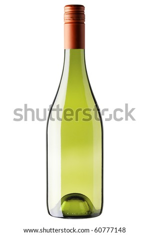 A bottle of white wine isolated against a white background