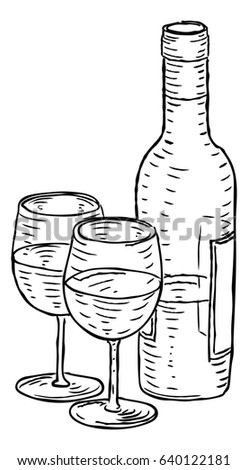A bottle of wine and two wineglasses hand draw in a retro vintage woodcut engraved or etched style.