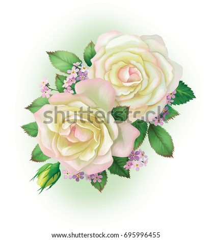 A bouquet of beautiful white roses. For registration pages, cards, invitations, greetings. For design works.