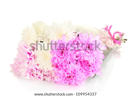 a bouquet of bright chrysanthemums on white background close-up - stock photo