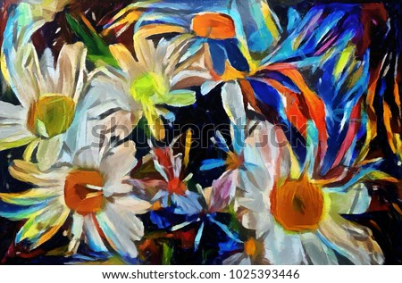 A bouquet of daisies. The painting is made in a modern style oil on canvas with elements of acrylic painting. Rough strokes and expression.