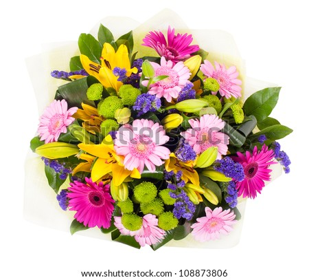 a bouquet of different flowers on a white background
