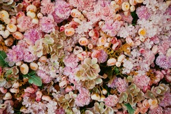 A bouquet of different plant petals. A sea of flowers, roses, peonies, carnations. The concept of flowering in spring.