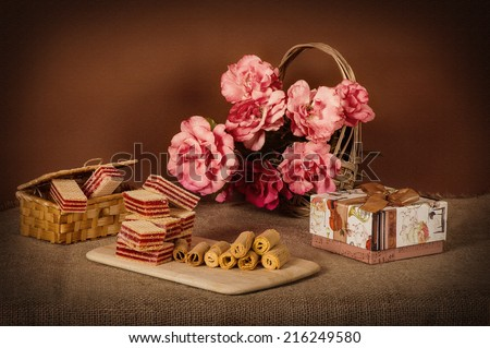 A bouquet of flowers with sweets