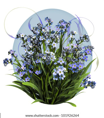a bouquet of forget me not flowers in blue colors