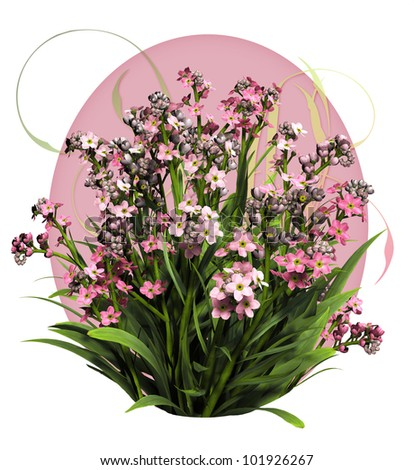 a bouquet of forget me not flowers in pink colors