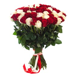 A bouquet of many two color fresh roses isolated on white background