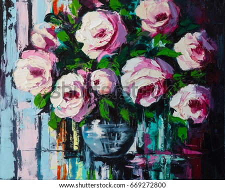 A bouquet of peonies in a glass vase, still life done in a mixture of an abstract, pop art and Fauvism styles. Original oil painting on canvas.