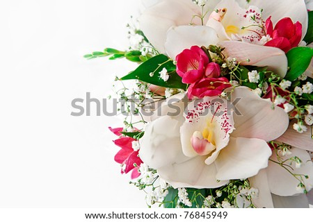 A bouquet of red and white flowers.