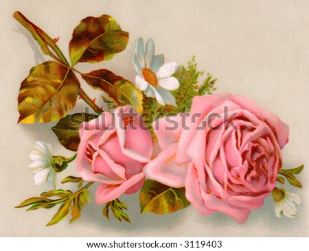 A bouquet of roses - circa 1890 Mother's Day greeting card illustration