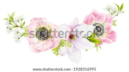 A bouquet of spring delicate flowers of anemones, cherry blossoms and magnolias. Watercolor illustration of beautiful flowers on a white background. Photo stock ©