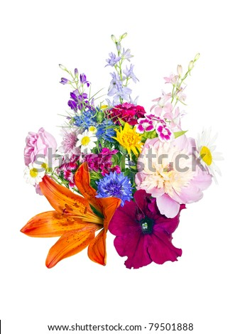 a bouquet of summer flowers on a white background