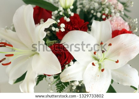 Wedding Bouquet With White Lilies And Red Roses Free Images And