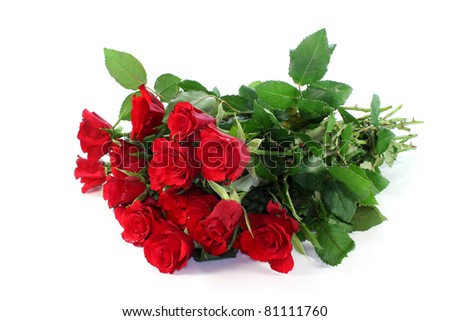 a bouquet red roses on a white background