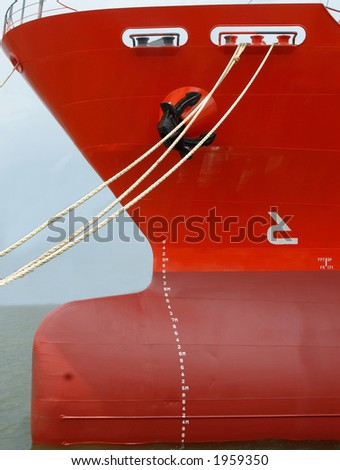 A bow of a vessel from sideway. - stock photo