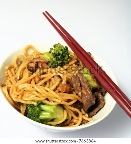 A bowl of beef chow mein with chopsticks