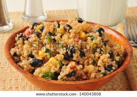 A bowl of black bean and quinoa salad