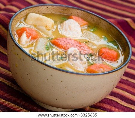 A bowl of caribbean style chicken soup with carrots, potatoes, herbs and cho-cho