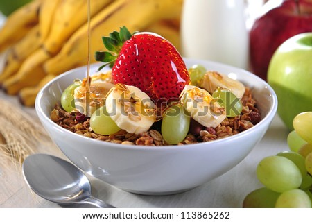A Bowl of cereal with fruits!!