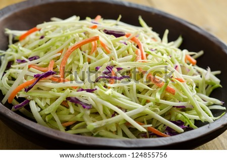 A bowl of crispy coleslaw close up.