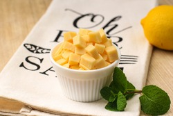 A Bowl of Cube Cheddar Cheese