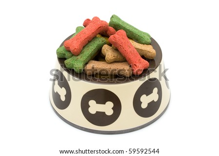 A bowl of dog treats isolated on a white background, treat your dog