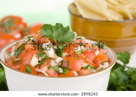 A bowl of fresh salsa, salsa fresca, made from fresh tomatoes, onion and cilantro. A bowl of chips can be seen in the background.