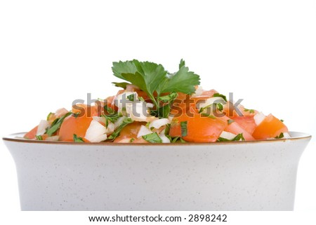 A bowl of fresh salsa...salsa fresca...made with fresh tomatoes, onion and cilantro. Isolated, shallow dof.