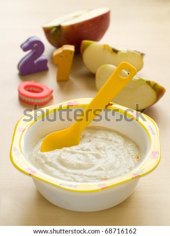A bowl of porridge for baby. Shot for a story on homemade, organic, healthy baby foods.