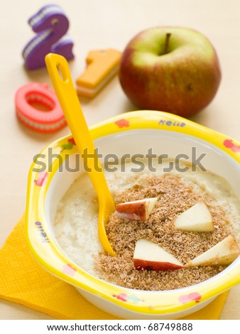 A bowl of porridge for children. Shot for a story on homemade, organic, healthy baby foods.