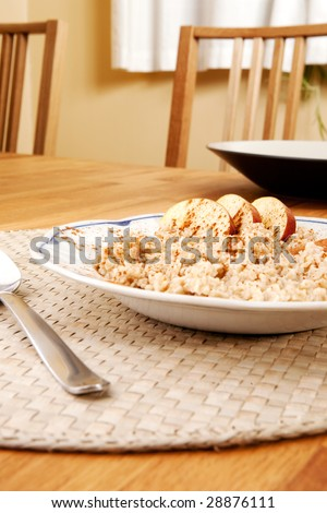 A bowl of porridge with apple and cinnamon spices