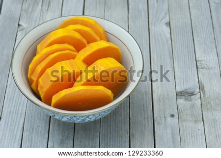 a bowl of sliced pumpkins on kitchen table
