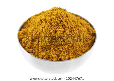 A bowl of spicy Curry Powder, main ingredient to cook Asian curry
