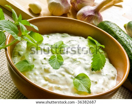 A bowl of tzatziki and fresh ingredients