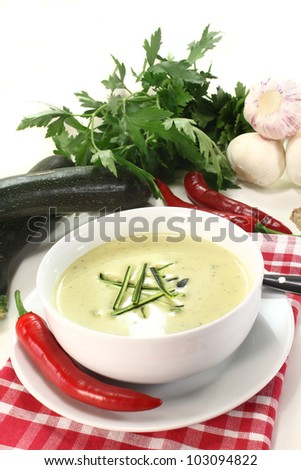 a bowl of zucchini creme soup with fresh julienne