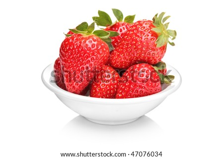A bowl with bunch of strawberries isolated on white background