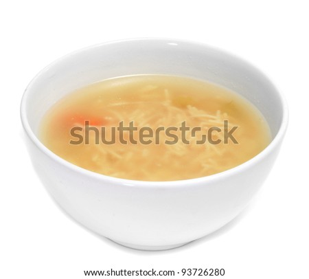a bowl with noodle soup on a white background